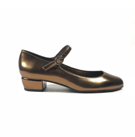 'Gracie' Mary-Jane metallic bronze vegan leather Low-Heels  by Zette Shoes - Vegan Style