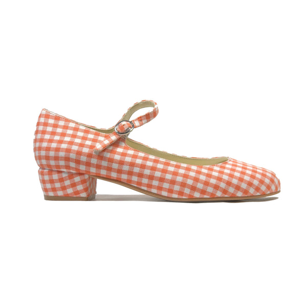 'Gracie' Mary-Jane tangerine gingham textile Low-Heels  by Zette Shoes - Vegan Style