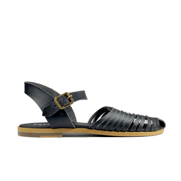 'Maya' flat vegan sandals by Zette Shoes - black