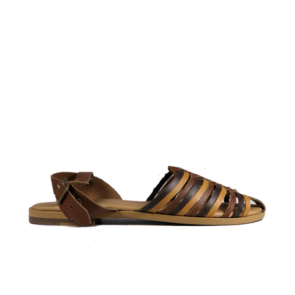 'Maya' flat vegan sandals by Zette Shoes - multibrown