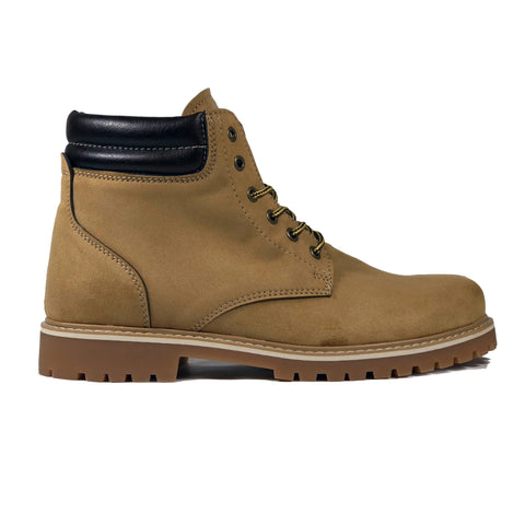 'Lennox' lace-up work boot for men by Zette Shoes - Tan - Vegan Style