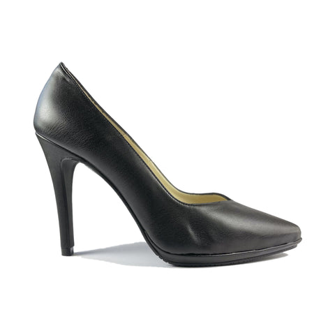 'Mercury' vegan-leather stiletto by Zette Shoes - black