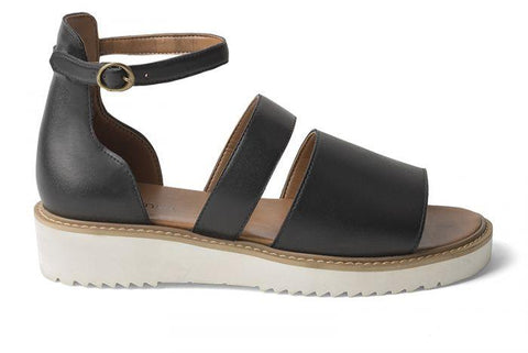 'Telma' women's vegan sandals by Ahimsa - black