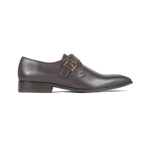 'Pierre' - vegan monk shoe in chocolate by Zette Shoes - side view