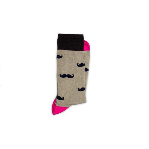 Moustache print - ethical pink, beige and black socks by Conscience