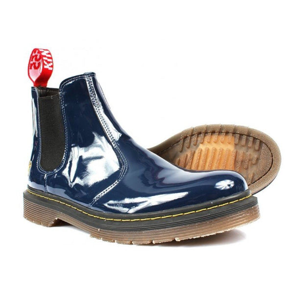 'Brick Lane' patent navy vegan Chelsea boot by King55 - Vegan Style