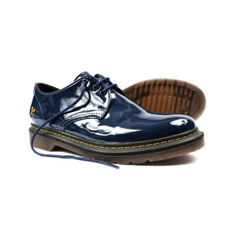 'Derby UK' patent navy vegan lace-up shoe by King55 - Vegan Style