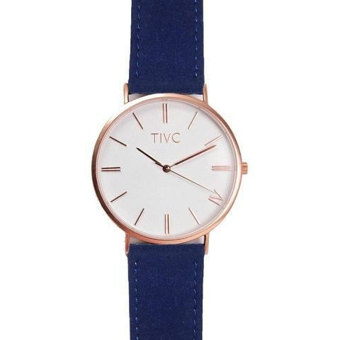 Time IV Change Watch - Rose Gold Face + Navy Eco Suede Band