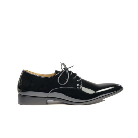 'Nero' Men's Vegan Derby Shoe by Zette Shoes - Black Patent