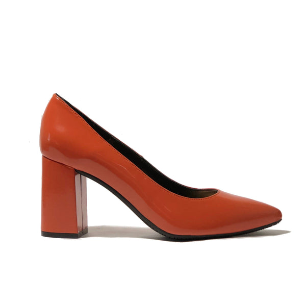 'Tanya 2'  vegan patent high heel by Zette Shoes - tangerine