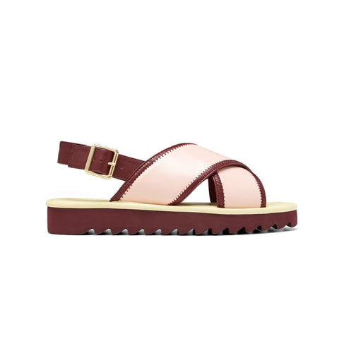 AMY // SCOUT women's vegan sandal by Twoobs - pink, eggshell and plum