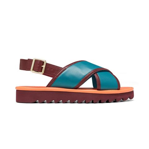TASSY // JUJU women's vegan sandal by Twoobs - emerald, burnt orange and plum