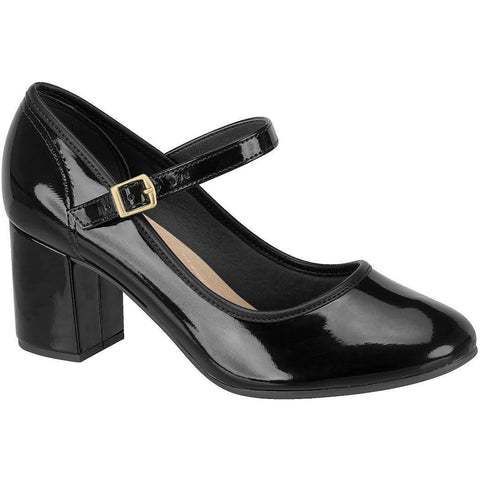 Beira Rio - Vegan Women's Patent Mary-Jane Heels (Black) - Vegan Style