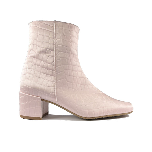 'Jacqui' vegan ankle boot by Zette Shoes - pastel pink croc