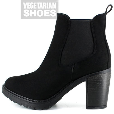 Emily vegan suede boots by Vegetarian Shoes - black