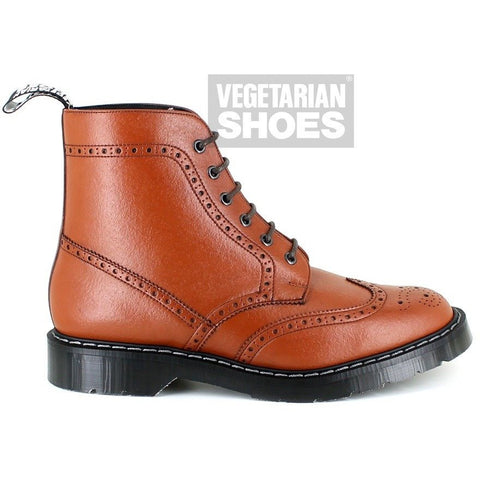 Airseal Kennard, lace-up brogue boot by Vegetarian Shoes (tan)