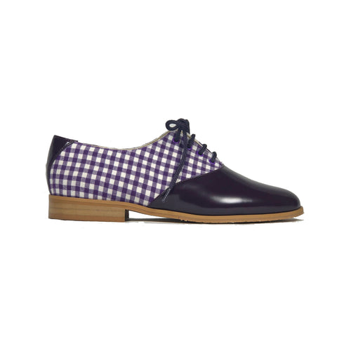 'Shona' gingham/patent oxford by Zette Shoes - purple