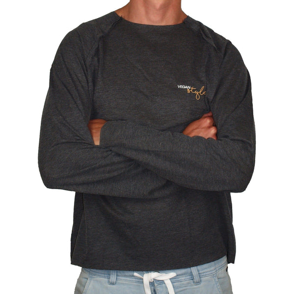 Vegan Style Men's long-sleeved t-shirt in grey - Vegan Style