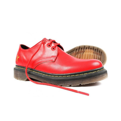 'Derby UK' matte red vegan lace-up shoe by King55 - Vegan Style