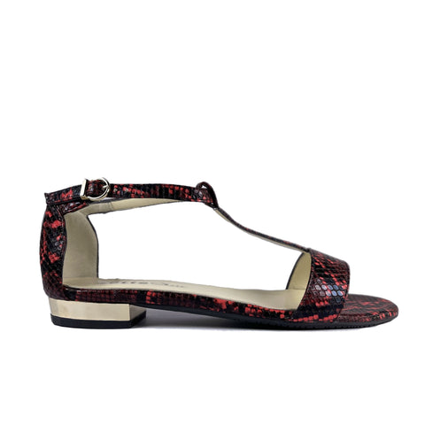 'Olive' flat vegan sandal by Zette Shoes - red snakeskin