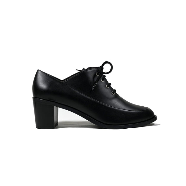 'Winifred' Oxford Black vegan leather mid heels  by Zette Shoes