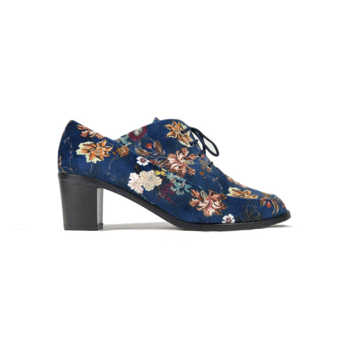 'Winifred' Oxford floral-blue textile vegan mid-heels by Zette Shoes