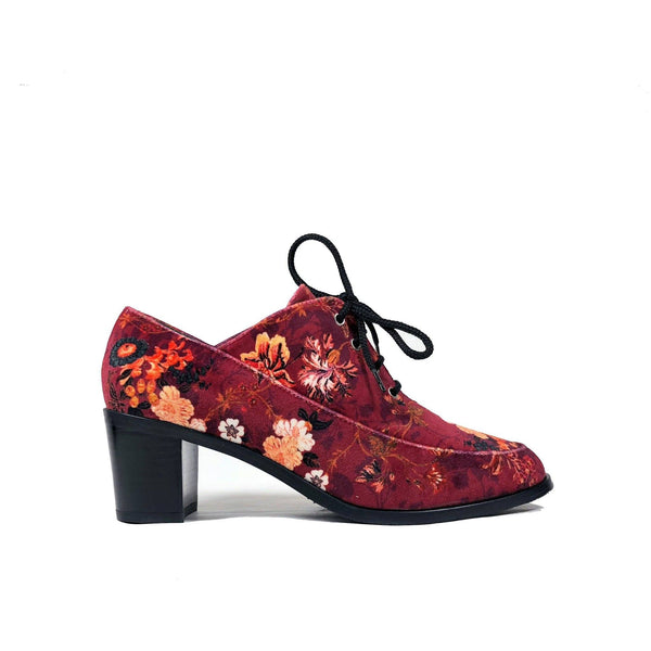 'Winifred' Oxford floral-red textile vegan mid-heels by Zette Shoes