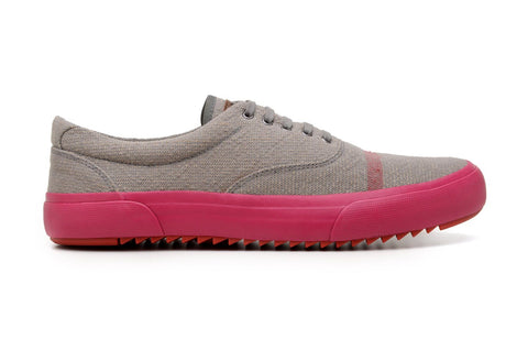 'Revenant' sneaker with vulcanised outsole by Brave Gentleman - grey/neon pink