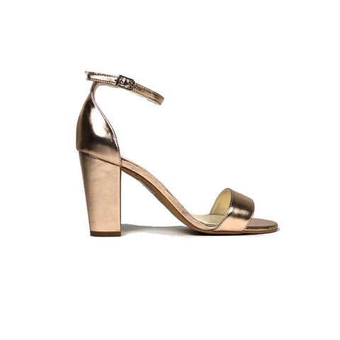 'Tahlia' metallic finish vegan heel by Zette Shoes - rose gold