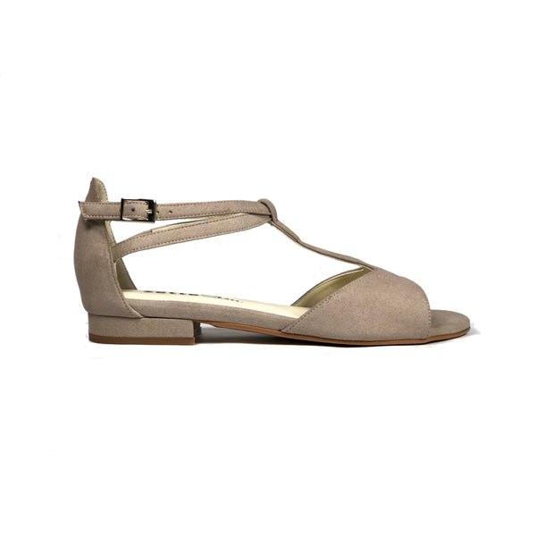 'Chloe' flat vegan suede sandals by Zette Shoes - sand - Vegan Style