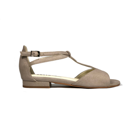'Chloe' flat vegan suede sandals by Zette Shoes - sand