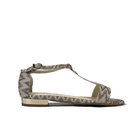 'Olive' flat vegan sandals by Zette Shoes - glittery multicolour (black, white and beige)