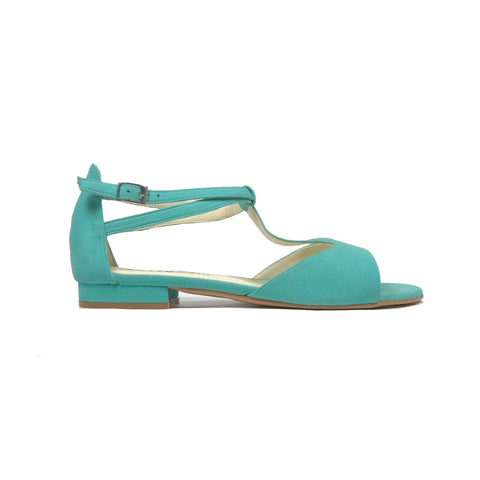 'Chloe' flat vegan suede sandals by Zette Shoes - turquoise