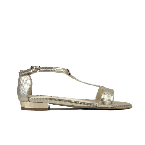 'Olive' flat vegan sandals by Zette Shoes - metallic platinum