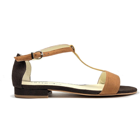 'Olive' flat vegan sandals by Zette Shoes - multi/brown
