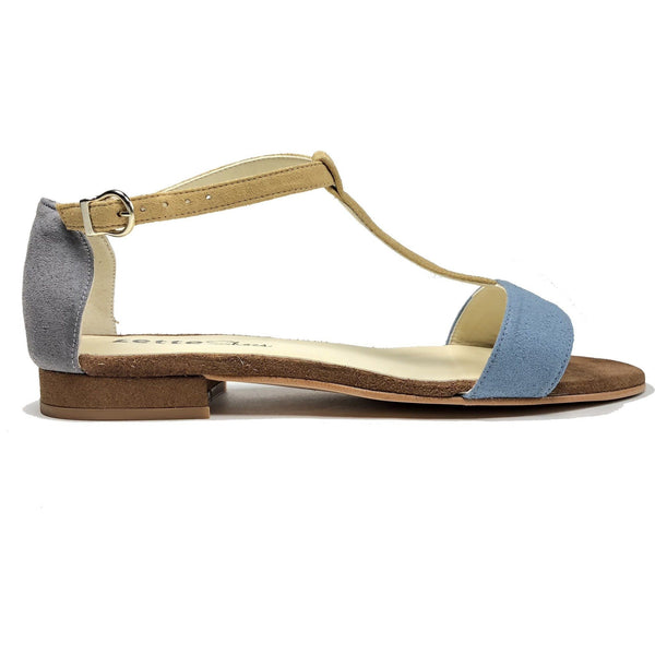'Olive' flat vegan sandals by Zette Shoes - blue/brown
