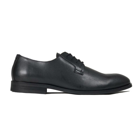 'Gideon' classic vegan derby round toe by Zette Shoes - black - Vegan Style
