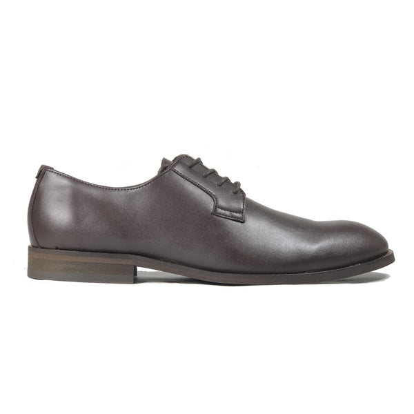 'Gideon' classic vegan derby round toe by Zette Shoes - dark chestnut - Vegan Style
