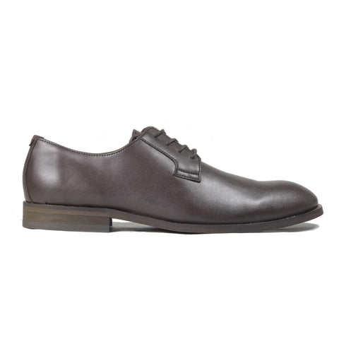 'Gideon' classic vegan derby round toe by Zette Shoes - dark chestnut