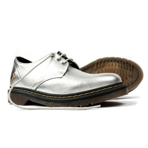 'Derby UK' silver vegan lace-up shoe by King55