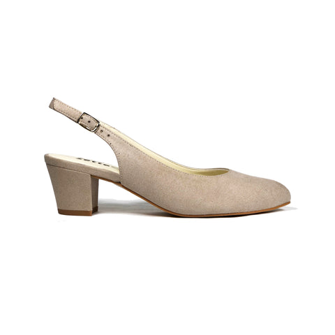 'Judy' vegan suede slingback heel by Zette Shoes - sand