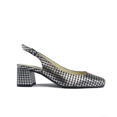 'Jeanne' vegan textile slingback heel by Zette Shoes - metallic silver/black gingham