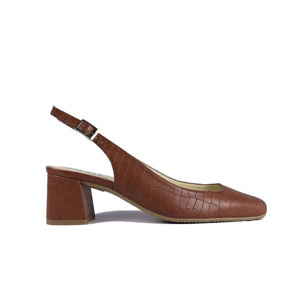 'Jeanne' vegan leather slingback heel by Zette Shoes - cognac croc