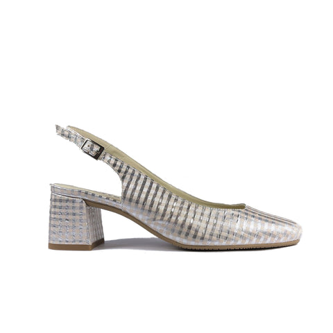 'Jeanne' vegan textile slingback heel by Zette Shoes - metallic silver/bone gingham