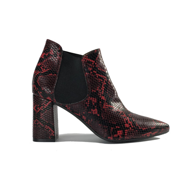 Rachel vegan snakeskin ankle boots in red