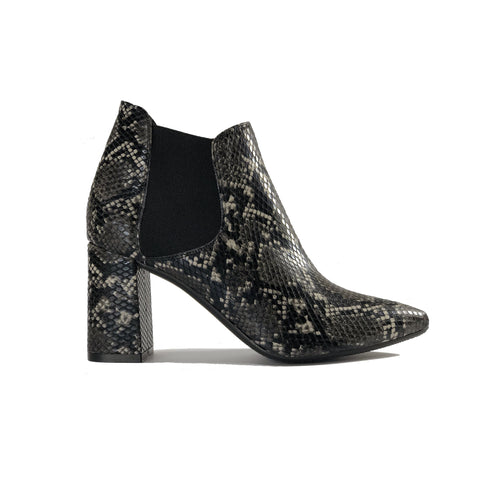 Vegan leather snakeskin heeled ankle boots - black