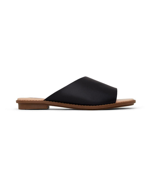 'Lunna' women's vegan flat sandals by Matt and Nat - black - Vegan Style