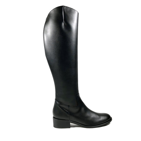 'Christine' black knee-high boots in vegan-leather by Zette Shoes