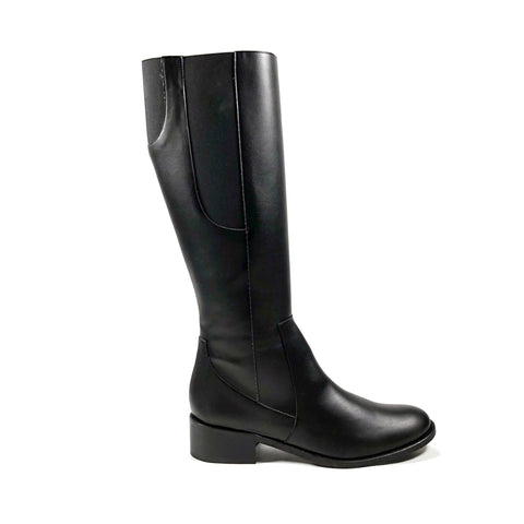 'Becky' black knee-high boots in vegan-leather by Zette Shoes