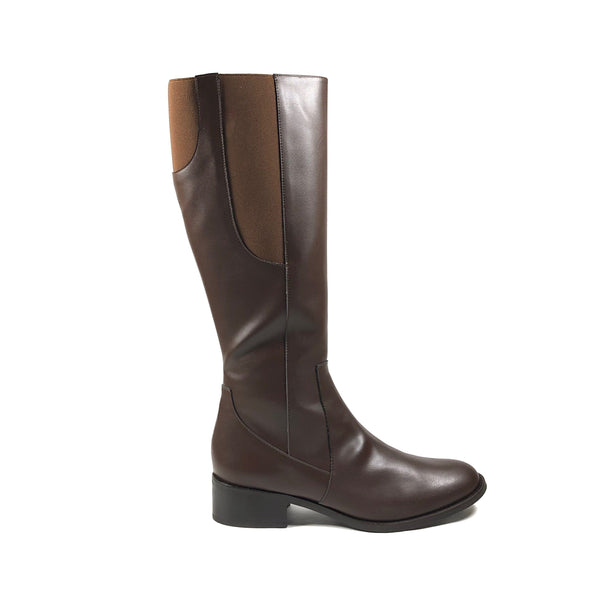 'Becky' brown knee-high boots in vegan-leather by Zette Shoes